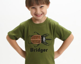 Boys Rhino Beetle Insect Shirt with Embroidered Name