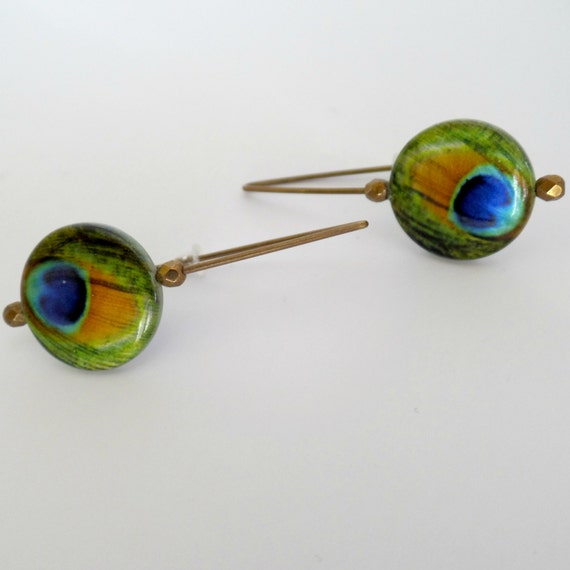 Peacock Kidney Earrings (Blue, Green, Bronze)