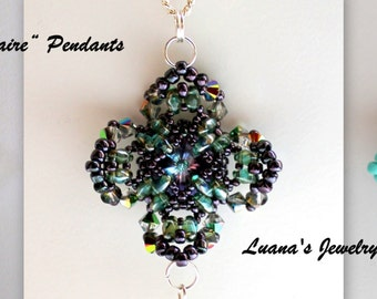 "Superduo / Twin Pendant Tutorial ""Solitaire"". PDF instructions step by step"