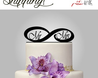 Infinity Mr and Mrs Cake Topper Personalized Wedding Cake Toppers