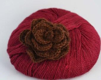 Baby Alpaca yarn - Burgundy red - Laceweight yarn - 2-3 ply - crochet thread color 2020