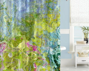 Abstract Shower Curtain, Contemporary Bathroom Decor, Pink, Green And Aqua Shower  Curtain,