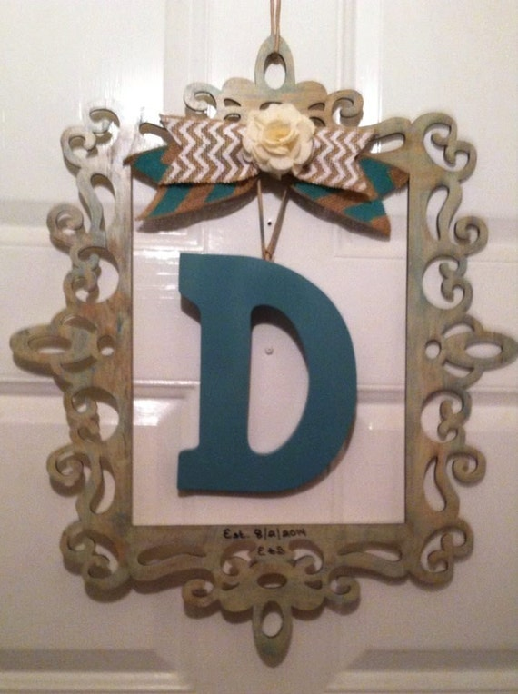 Rustic Monogram Wall Decor : Framed monogram wall decorframed by