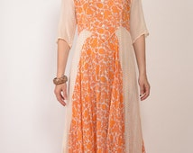 vintage 1970s INDIA sheer cotton gauze festival DRESS ethnic floral paisley hippie boho folk draped maxi bohemian 70s xs s