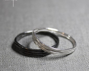 Unisex wedding band, Sterling silver stacking wire ring, Men women ring, Simple ring, Couple ring set, Marriage, Delicate cheap ring