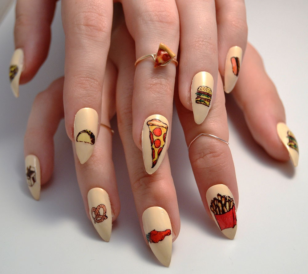 Today Live Sports: Snack Attack Handpainted Nail Art Decals - Cute ...