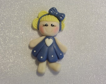 Little Princess. Clay Charm Bead, Scrapbooking, Bow Center, Pendant, Cupcake topper, Magnet
