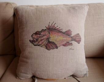 Scorpion fish hand painted pillow case, Natural linen cushion cover, Nautical pillow, Scorpionfish, Mediterranean motif pillow, Boat pillow