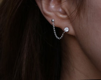 Cartilage Chain Earring - Double pierced Earring