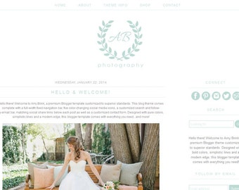 Blogger Template for Photographers - Premade Photography Blog Theme Design - Simple Website Template - BT01