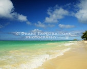 Powdered Sugar Sand Kailua Tropical Island of Oahu, Hawaii, Bright Blue Teal Aqua Ocean Water, Landscape, Drake Fine Art Professional Photos