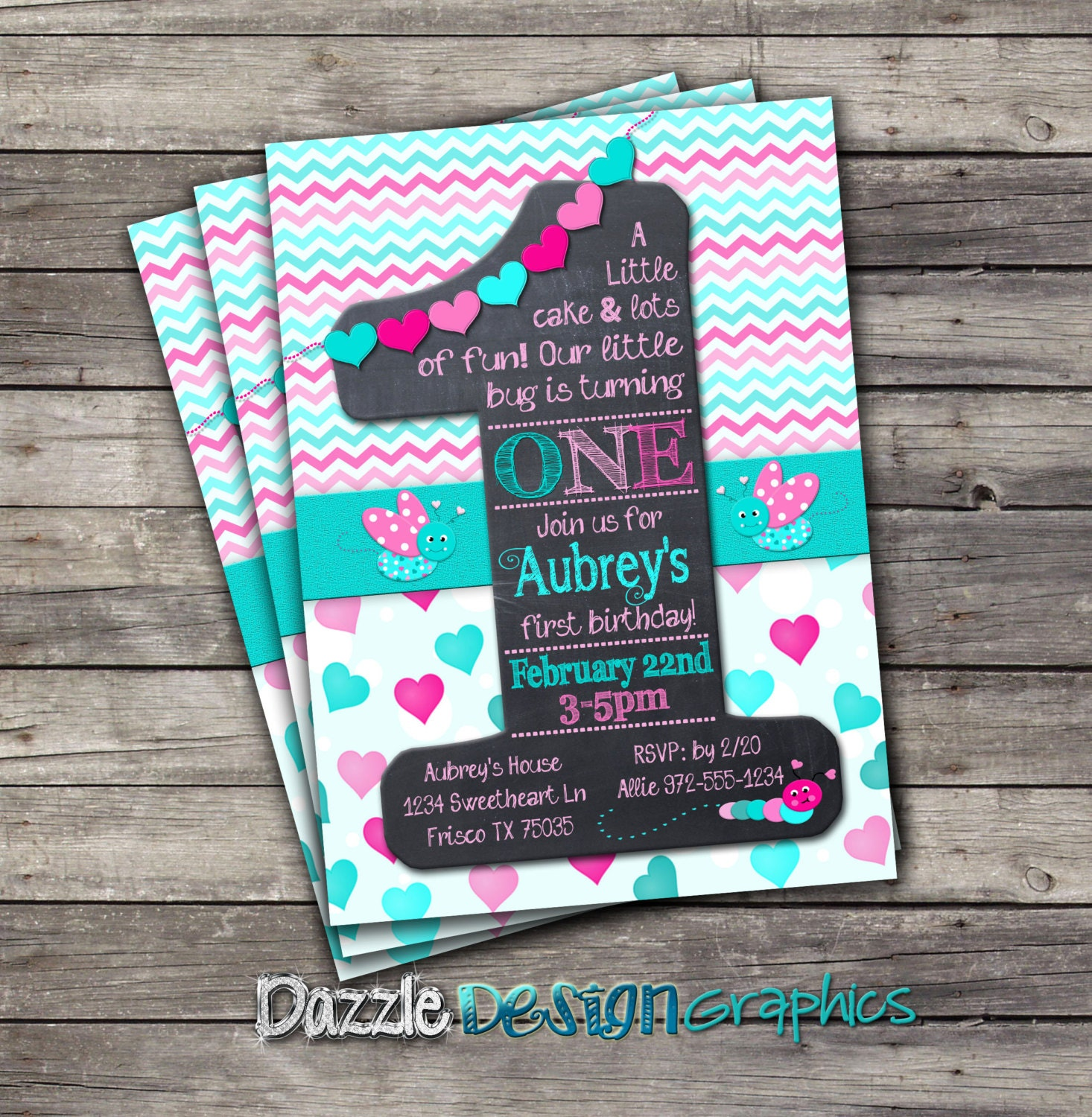 Printable First Birthday Invitation Little Bug Chalkboard 1