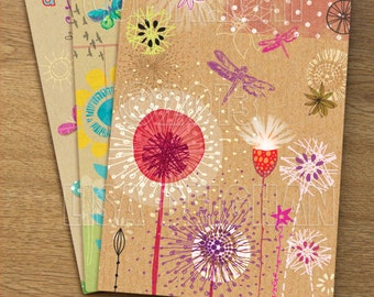 Kraft Collage Set of 3 Illustrated A5 notebooks