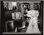 Black and White Photograph, Diorama, Living room scene with nude, bust, and paper doll