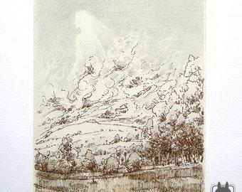 Brown and gray illustration - large artwork - original fantasy art