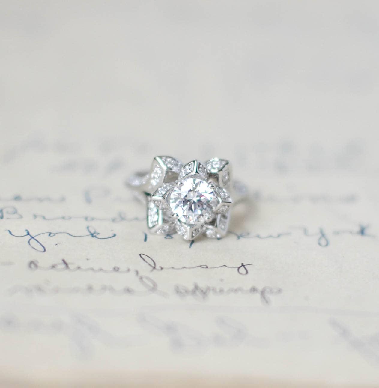 SALE Lotus Engagement Ring Flower Wedding Ring Rose Ring