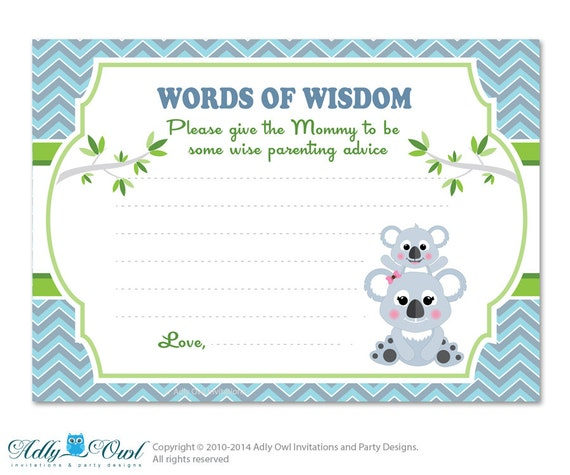 to grey green boy koala words of wisdom advice card for baby shower