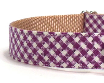 Purple Gingham Dog Collar - Preppy Dog Collar - Plaid Dog Collar - Checkered Dog Collar