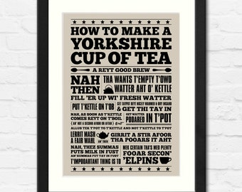 Yorkshire Cup of Tea | Typographic Print | Available Framed or Unframed | Kitchen Art