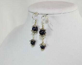 Sterling Silver & Semi-Precious Gemstone Midnight Sandstone Dangle Earrings