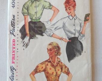 Vintage Simplicity Pattern 1692 - 3 Simple 1950's Misses Blouse Patterns - Size 12