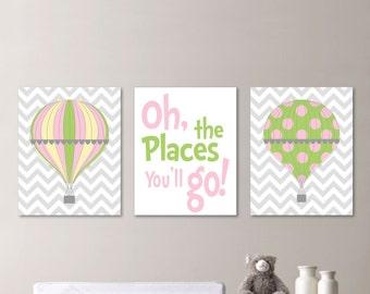 Hot Air Balloon Nursery - Hot Air Balloon Decor - Hot Air Balloon Print - Baby Girl Nursery Art Print, Girl Bedroom Art, Pink Green - NS-537