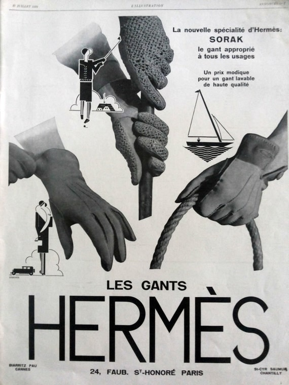 Gant Hermes French gloves Hermes original art deco poster