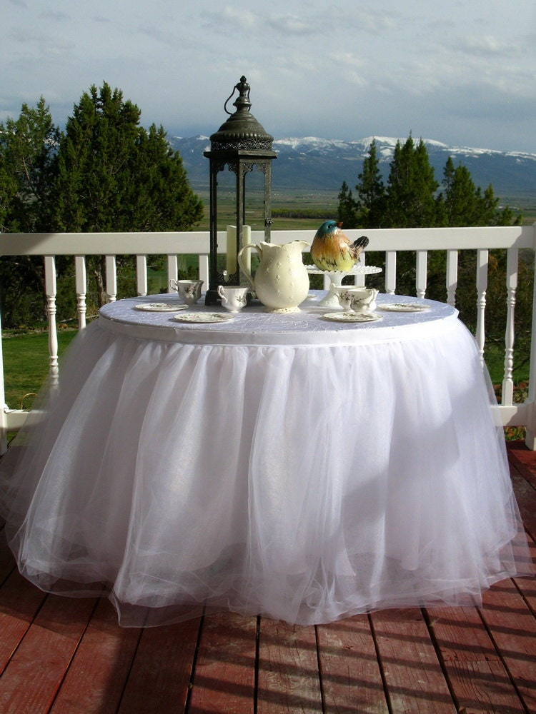 White Tulle Table Skirt Tutu Tableskirt For Wedding Birthday