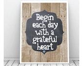 Grateful Heart Art,Digital Print, Instant Download, Printable, Wood background, Wall Decor, Chalkboard Art Print, Blue Heart