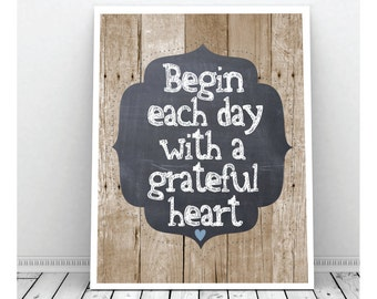 Grateful Heart Art,Digital Print, Instant Download, Printable, Wood background, Wall Decor, Chalkboard Art Print, Blue Heart