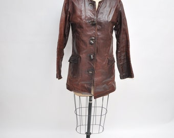 vintage leather jacket womens WALTER DYER 1960s 1970s hippie custom made small