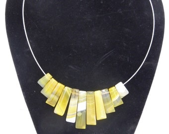 Yellow Agate Bib Necklace