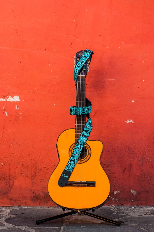 leather guitar strap acoustic guitar strap folk by tildestraps. Black Bedroom Furniture Sets. Home Design Ideas