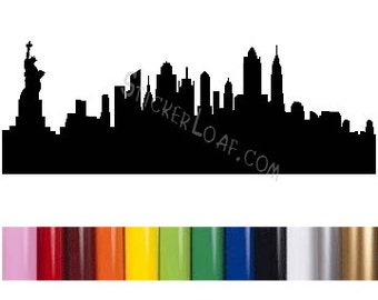 NEW YORK city SKYLINE Decal sillhouette ny wall art bedroom den sticker cityscape skyscrapers statue liberty car window Laptop