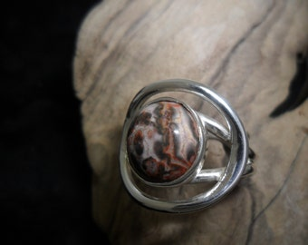 Sterling silver ring set with a leopard Jasper