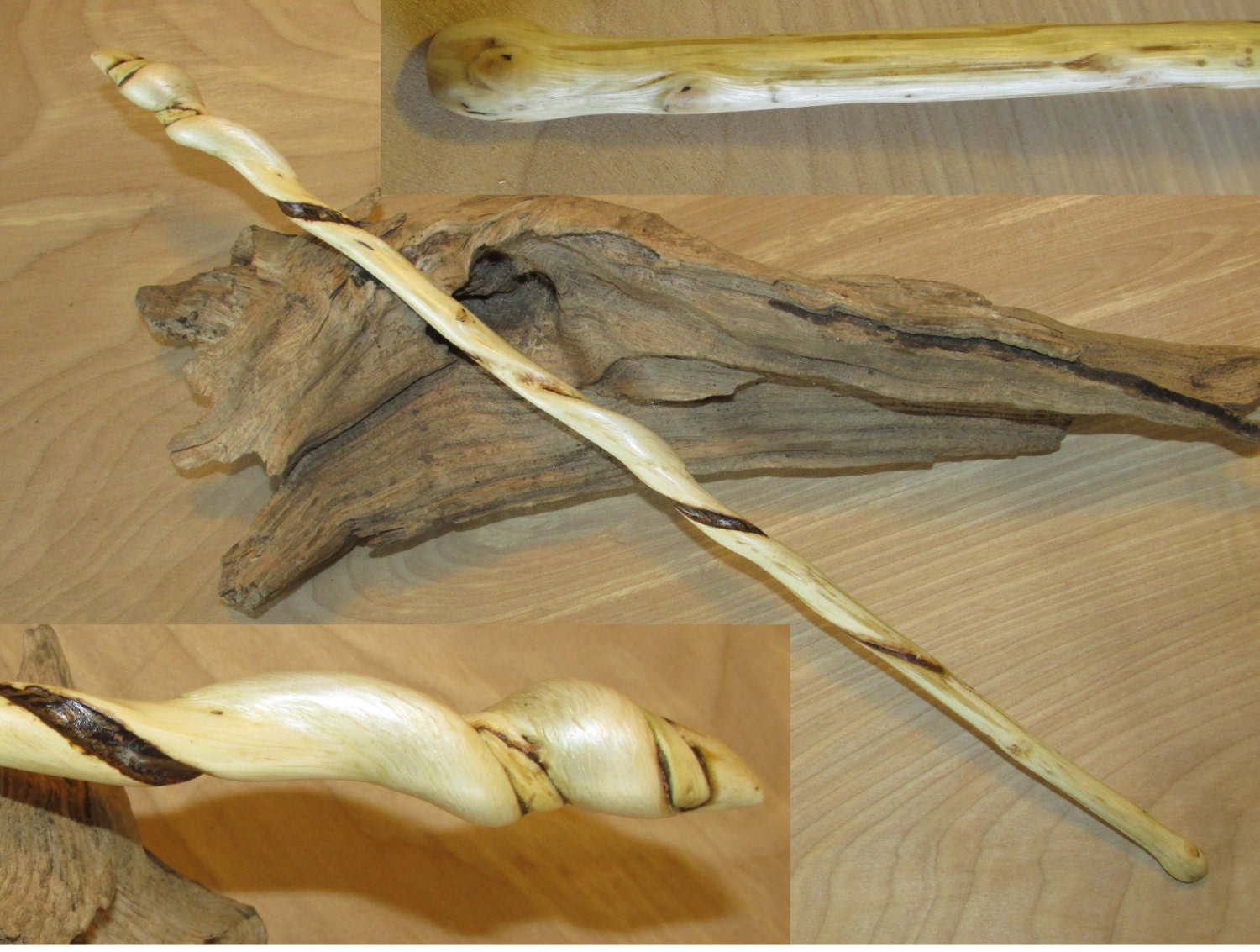 Ash Wood Wand ~ Twisted ash wooden magic wand carved of wood real witch