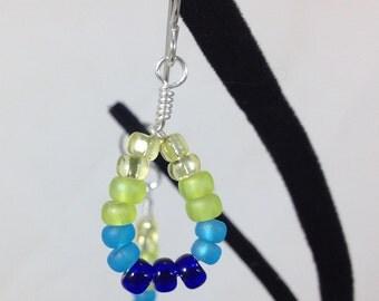 Rainbow Beaded Dangle Loop Earrings