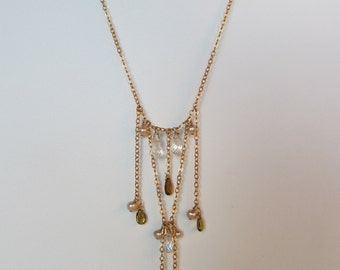 Tourmaline, White Topaz, Pearl Handmade Necklace with 14K Gold Filled Chain