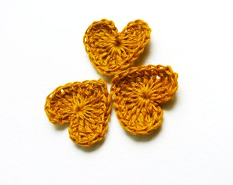 Crochet hearts applique,15 yellow hearts, embellishments,spring gift,small wedding favor, scrapbooking,wedding decorations, cards, gift idea