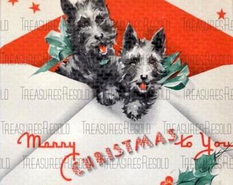 Retro Black Scottie Dog Christmas Card #14 Digital Download