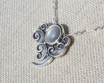Air Elemental Necklace Argentium Silver with Silver Moonstone