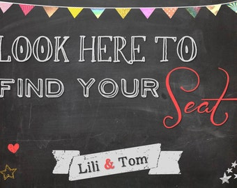 Find your seat - Wedding sign printable - Chalkboard