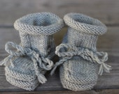 Handmade Merino Wool Baby Booties with Stay-On Laces – Light Gray (0-6 Months)
