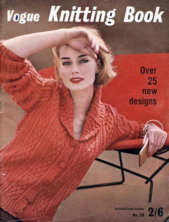 Vogue Dictionary Knitting Stitches : Vogue Knitting Book 59. 1961 Vogue Pattern Book. Over 25