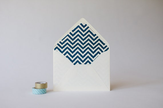 ikat chevron lined envelopes (25 color options) - sets of 10