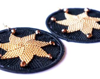 Earrings Star crochet OR 005