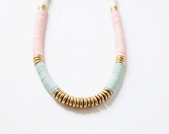 Pink and Seafoam Green Sequin Necklace, Brass Necklace, Pastel Green and Pink Necklace, Sequin Necklace, Mint Green Necklace