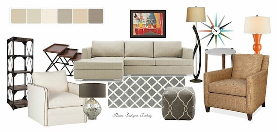 Unavailable listing on etsy for Modern living room mood board
