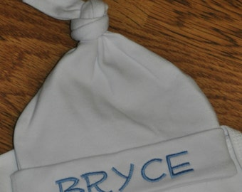 Custom Monogrammed Infant Knot Hat for Baby Boy Baby Girl White, Light Blue, Light Pink, Navy, and Red Monogrammed any color with name