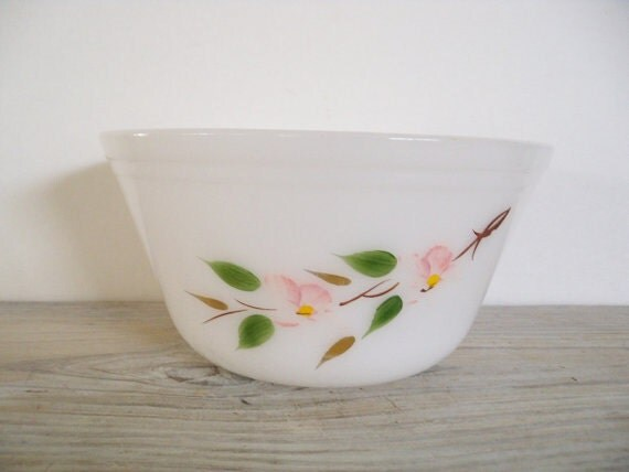 Federal Ware Mixing Bowl Milk Glass Apple Blossom Gold Leaves Vintage Bowl 1950s